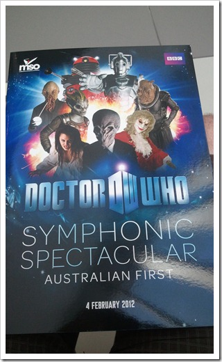 The program for the Doctor Who Symphonic Spectacular in Melbourne, 4 February 2013
