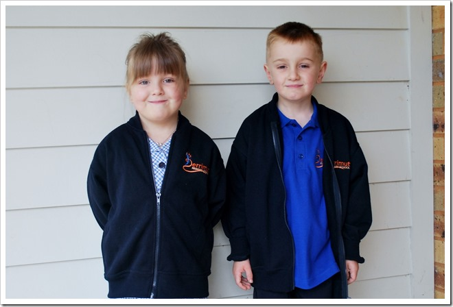 Kennedy and Henry Malloy, ready for their first day at school.