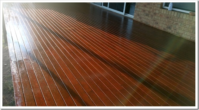 Freshly oiled deck.